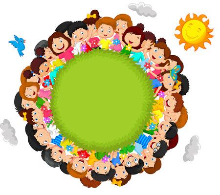Illustration pour Crowd of children cartoon - image libre de droit