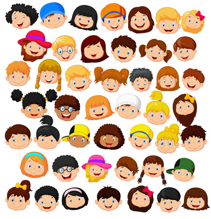 Illustration pour Set cartoon children head - image libre de droit