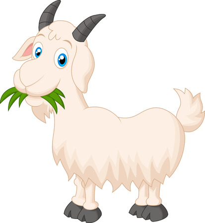 Illustration for Cartoon goat eating grass - Royalty Free Image