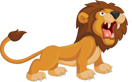 Cartoon lion roaring