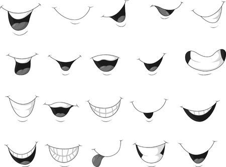 Illustrazione per Cartoon set of smiling mouth - Immagini Royalty Free
