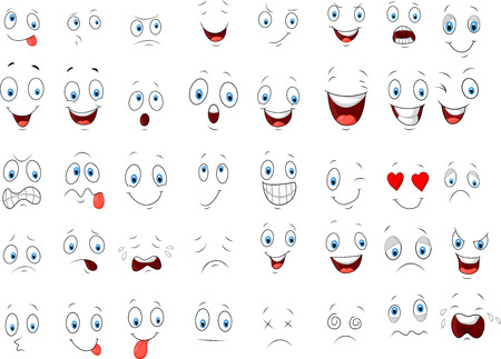 Illustrazione per Cartoon of various face expressions - Immagini Royalty Free