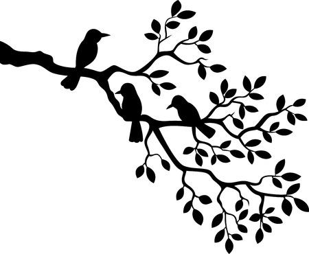 Illustration pour Cartoon tree branch with bird silhouette - image libre de droit