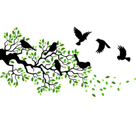 Ilustración de Cartoon tree branch with bird silhouette - Imagen libre de derechos