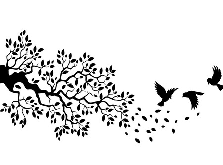 Illustration pour Cartoon tree branch with bird silhouette - image libre de droit
