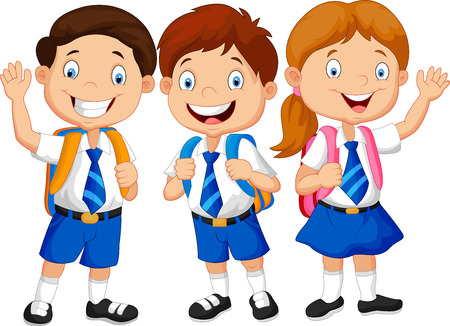 Photo for Happy school kids cartoon waving hand - Royalty Free Image