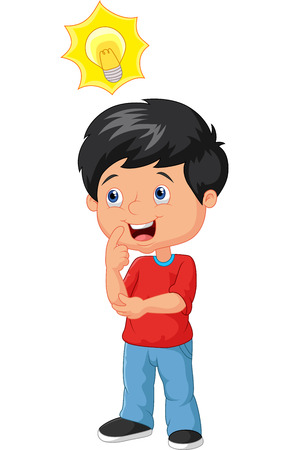Illustration pour Little boy cartoon with big idea - image libre de droit