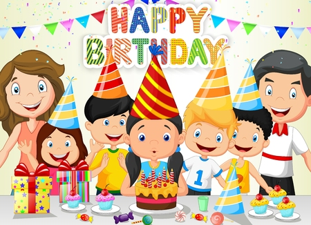 Ilustración de Happy girl cartoon blowing birthday candles with his family and friends - Imagen libre de derechos