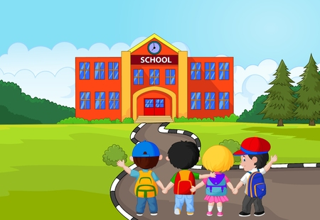 Illustrazione per Little kids cartoon are going to school - Immagini Royalty Free