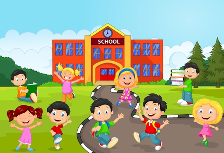 Photo for Happy school children cartoon in front of school - Royalty Free Image