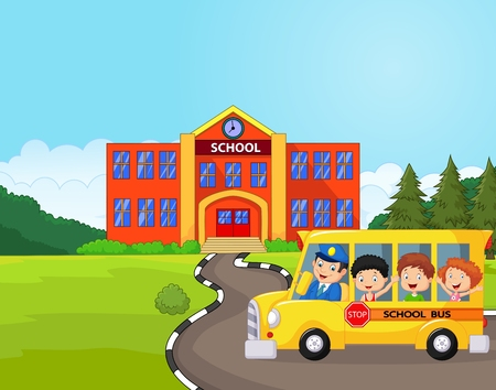Illustration pour Cartoon a school bus and kids in front of school - image libre de droit