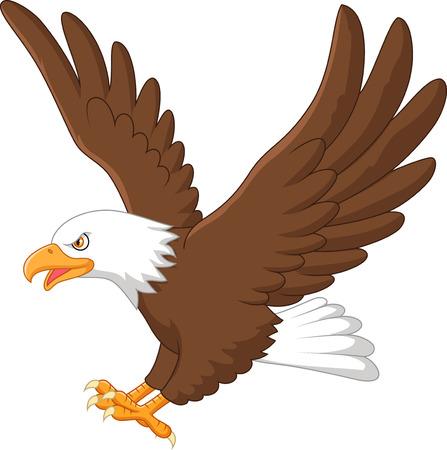 Illustration pour Cartoon eagle flying - image libre de droit