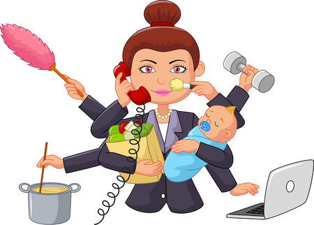 Illustrazione per Cartoon multitasking housewife - Immagini Royalty Free