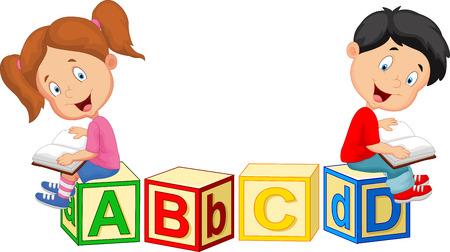 Photo pour Children cartoon reading book and sitting on alphabet blocks - image libre de droit