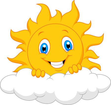 Illustration pour Happy sun cartoon behind the cloud - image libre de droit