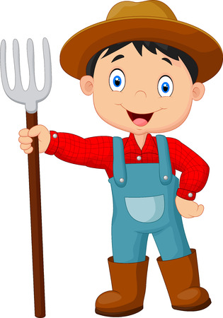 Ilustración de Cartoon young farmer holding rake - Imagen libre de derechos