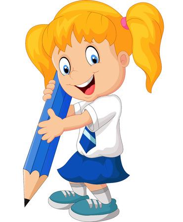 Illustration pour Cartoon girl with pencil - image libre de droit