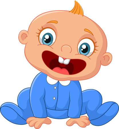 Illustration pour Happy cartoon baby boy - image libre de droit