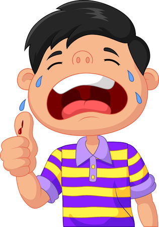 Illustration pour Cartoon boy crying because of a cut on his thumb - image libre de droit