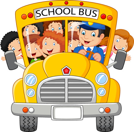 Illustration pour School Kids cartoon Riding a School Bus - image libre de droit