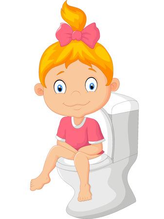 Little girl cartoon sitting on the toilet