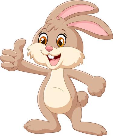 Illustration pour Cartoon rabbit giving thumbs up - image libre de droit