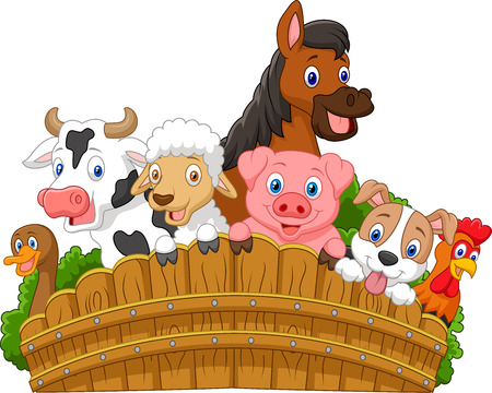 Illustration pour Collection farm animals cartoon - image libre de droit