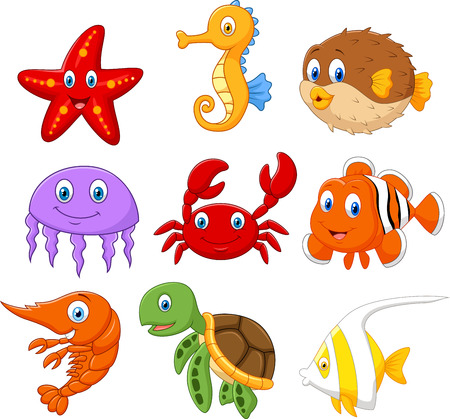 Illustration pour Cartoon fish collection set - image libre de droit