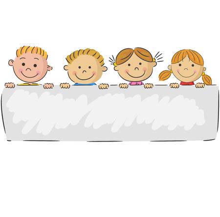Illustration pour Cartoon little kids holding banner - image libre de droit