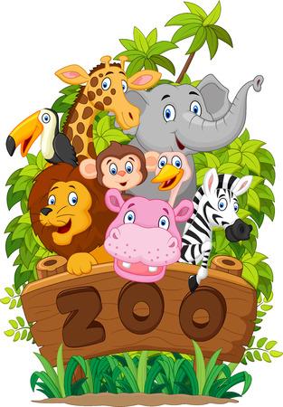 Illustration pour Cartoon Collection zoo animals - image libre de droit