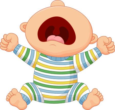 Illustration pour Cartoon baby boy crying - image libre de droit