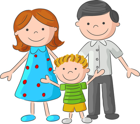 Illustration pour Happy cartoon family sketch - image libre de droit
