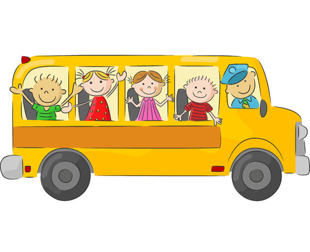 Foto de Happy children cartoon on school bus - Imagen libre de derechos