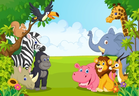 Illustration pour Cartoon collection animal in the jungle - image libre de droit