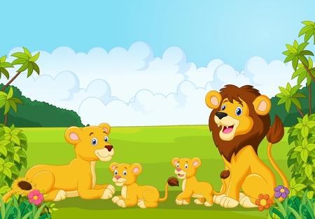 Illustration pour Cartoon lion family - image libre de droit
