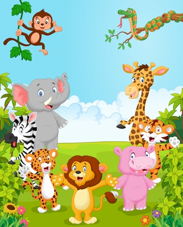 Photo for Cartoon collection happy animal. vector illustration - Royalty Free Image