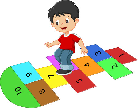 Illustration pour Cartoon boy on the hopscotch - image libre de droit