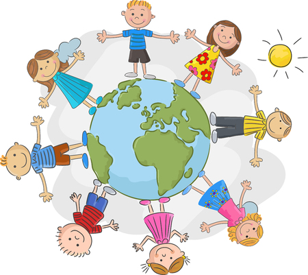 Illustration for The world's children in a circle in the world - Royalty Free Image