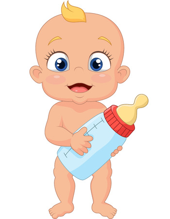 Photo pour Cartoon baby holding bottle - image libre de droit