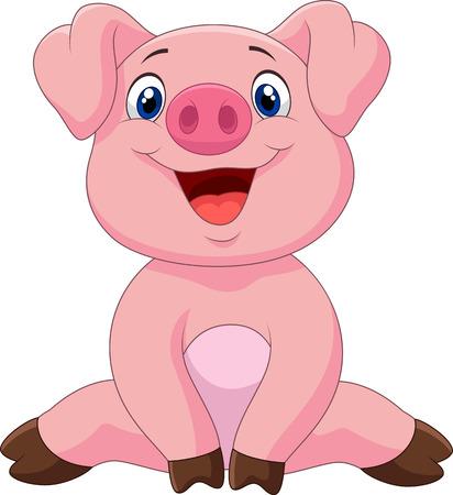 Ilustración de Cartoon adorable baby pig,vector illustration - Imagen libre de derechos