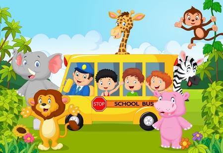 Illustration for Cartoon school children on safari - Royalty Free Image