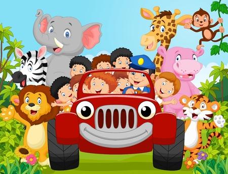 Foto de Cartoon little kid happy with animal. vector illustration - Imagen libre de derechos