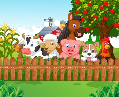 Illustration pour Collection farm animals - image libre de droit