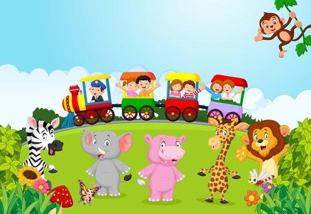 Illustration pour Happy kids on a colorful train with animal - image libre de droit