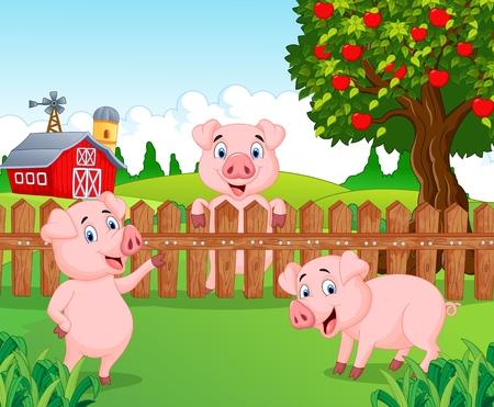 Ilustración de Cartoon adorable baby pig on the farm - Imagen libre de derechos