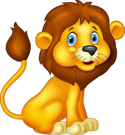 Photo pour Cartoon lion sitting - image libre de droit