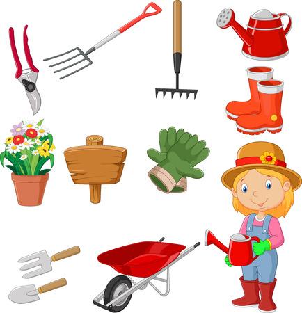 Illustration pour Cartoon gardening tools collection set - image libre de droit