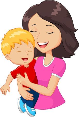 Ilustración de Cartoon happy family mother holding her son - Imagen libre de derechos