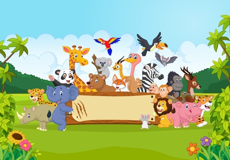 Photo pour Cartoon wild animals holding banner - image libre de droit