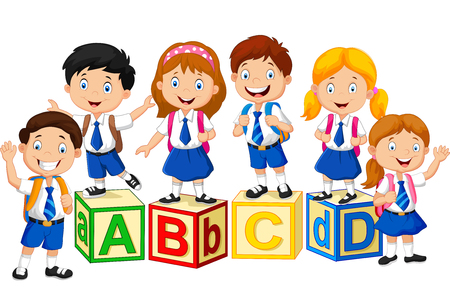 Illustrazione per Happy school kids with alphabet blocks - Immagini Royalty Free